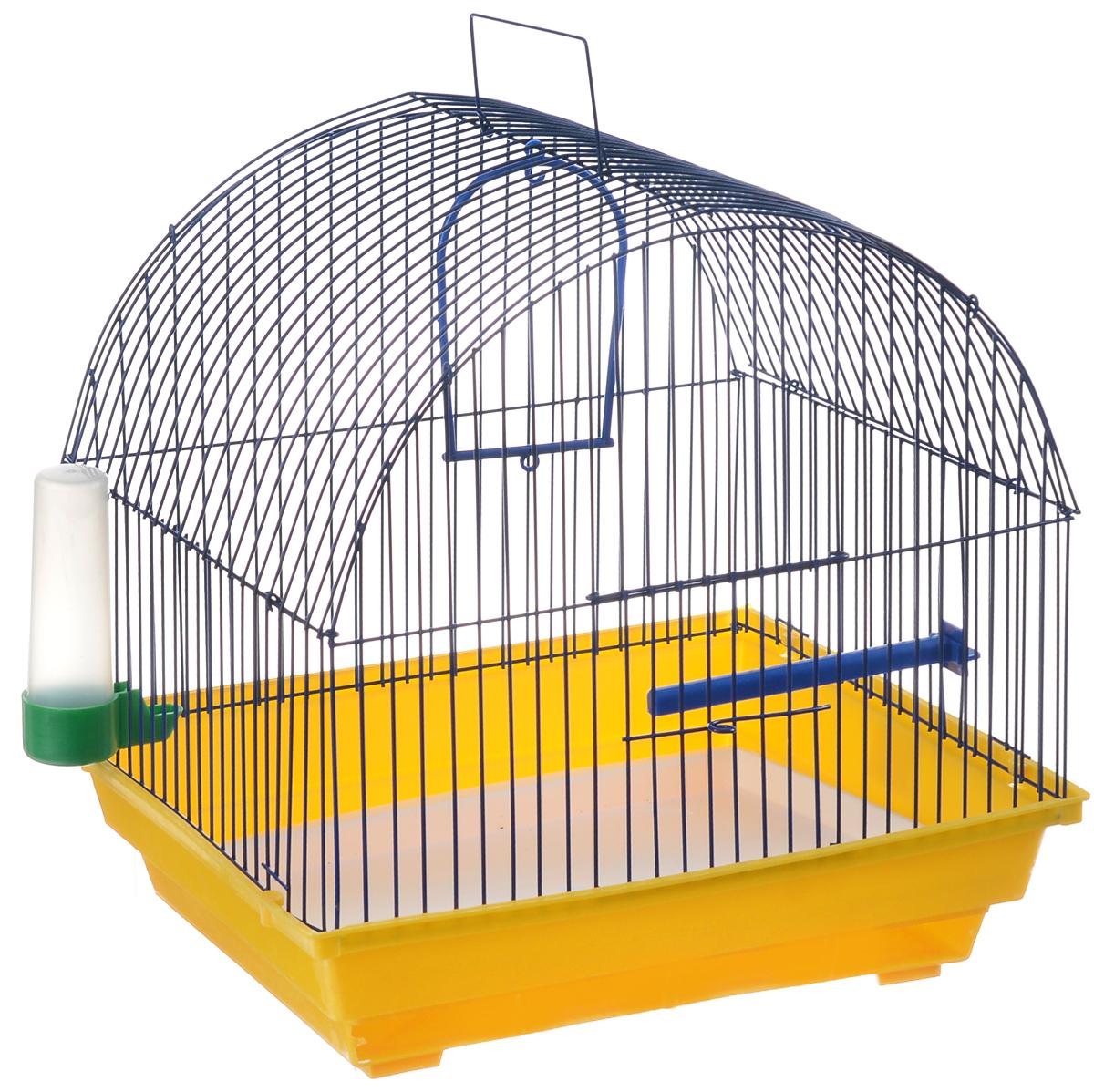 Клетка для птиц ЗооМарк, цвет: желтый поддон, синяя решетка, 35 х 28 х 34 см0120710Клетка ЗооМарк, выполненная из полипропилена и металла, предназначена для мелких птиц.Изделие состоит из большого поддона и решетки. Клетка снабжена металлической дверцей. В основании клетки находится малый поддон. Клетка удобна в использовании и легко чистится. Она оснащена жердочкой, кольцом для птицы, поилкой, кормушкой и подвижной ручкой для удобной переноски.