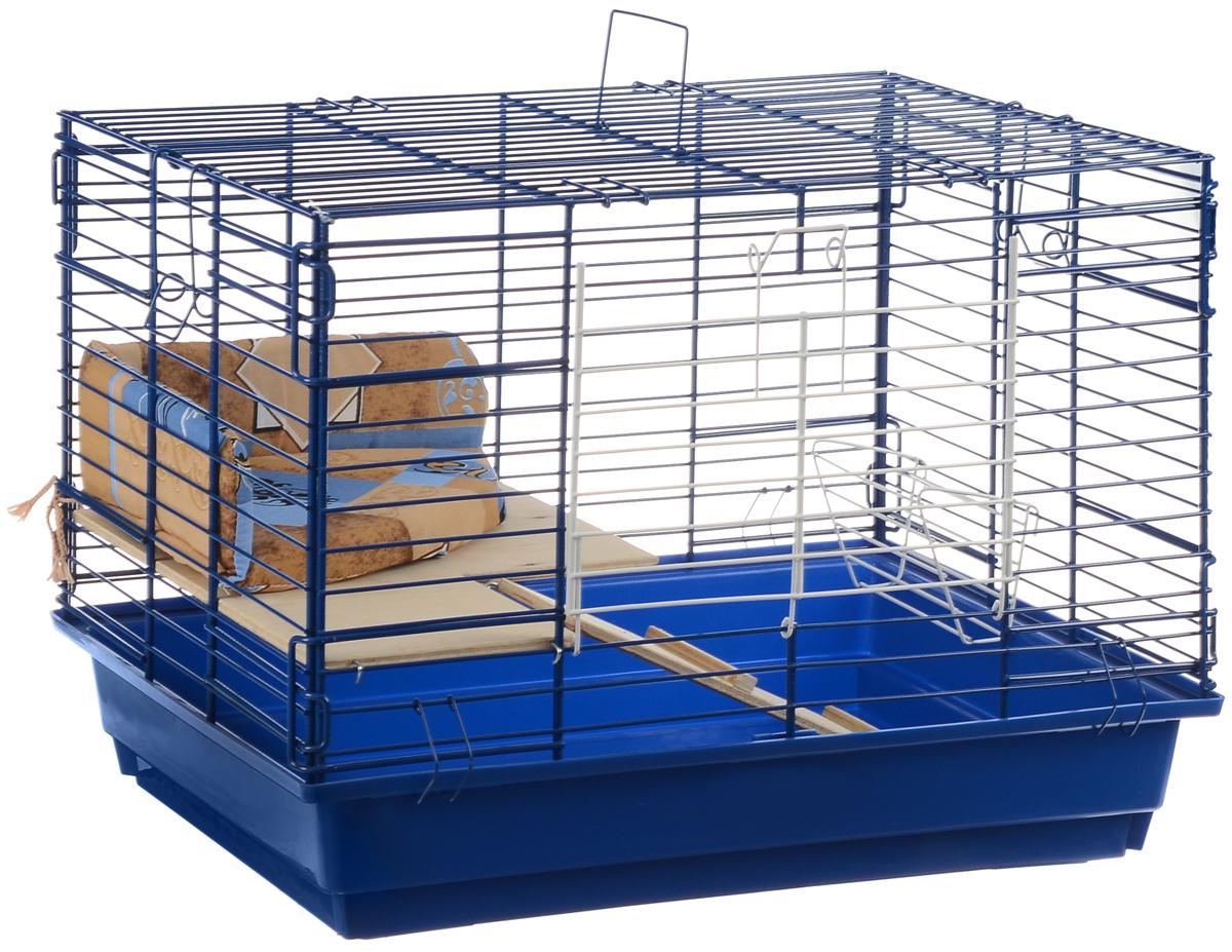 Клетка для кроликов ЗооМарк, 2-этажная, цвет: синий поддон, синяя решетка, 59 х 39 х 41 см0120710Клетка для кроликов ЗооМарк, выполненная из металла и пластика, предназначена для содержания вашего любимца. Клетка имеет прямоугольную форму, очень просторна, оснащена съемным поддоном. Она очень легко собирается и разбирается. Для удобства вашего питомца в клетке предусмотрен мягкий уголок, в котором кролик сможет отдохнуть. Такая клетка станет для вашего питомца уютным домиком и надежным убежищем.