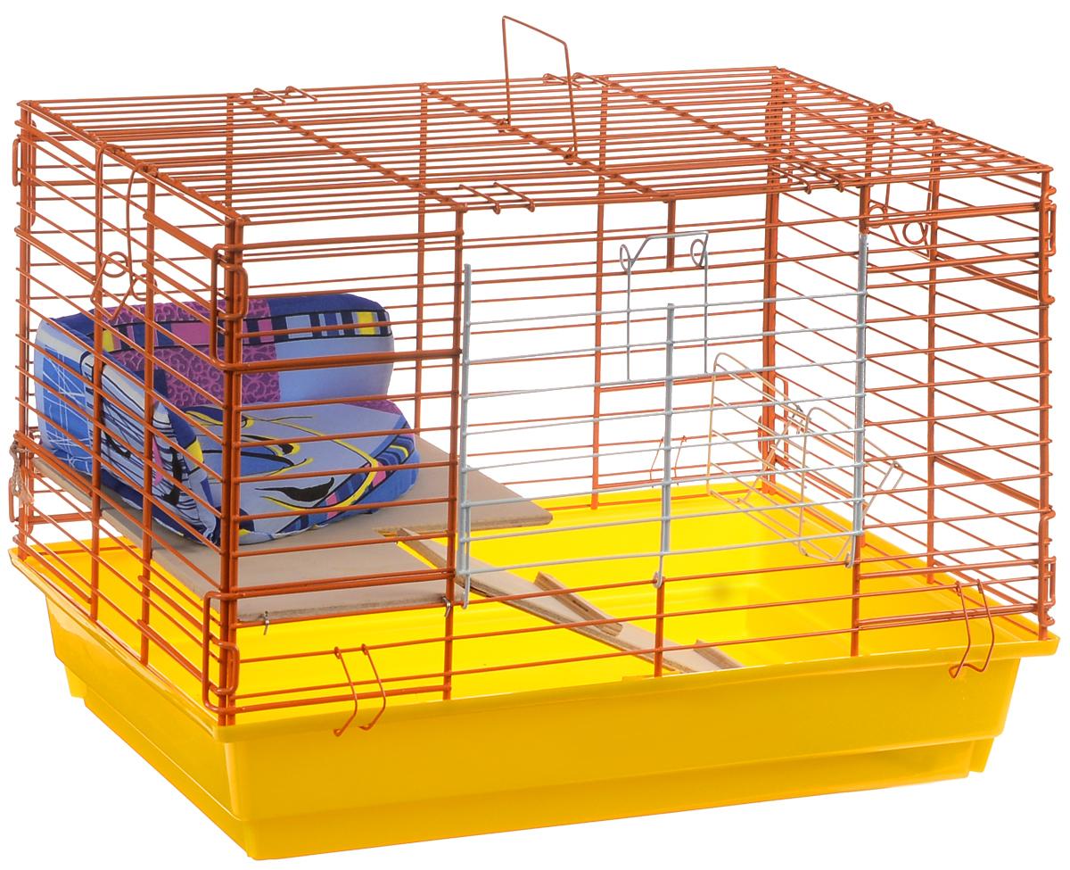 Клетка для кроликов ЗооМарк, 2-этажная, цвет: желтый поддон, оранжевая решетка, 59 х 39 х 41 см640КЗКлетка для кроликов ЗооМарк, выполненная из металла и пластика, предназначена для содержания вашего любимца. Клетка имеет прямоугольную форму, очень просторна, оснащена съемным поддоном. Она очень легко собирается и разбирается. Для удобства вашего питомца в клетке предусмотрен мягкий уголок, в котором кролик сможет отдохнуть. Такая клетка станет для вашего питомца уютным домиком и надежным убежищем.