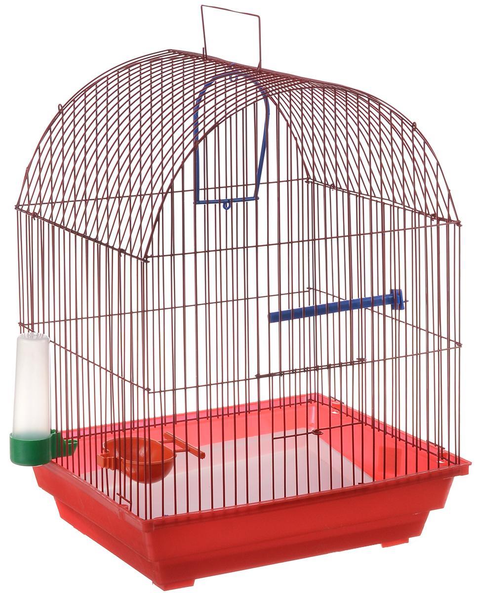 Клетка для птиц ЗооМарк, цвет: красный поддон, красная решетка, 35 х 28 х 45 см0120710Клетка ЗооМарк, выполненная из полипропилена и металла, предназначена для мелких птиц. Вы можете поселить в нее одну или две птицы. Изделие состоит из большого поддона и решетки. Клетка снабжена металлической дверцей, которая открывается и закрывается движением вверх-вниз. В основании клетки находится малый поддон. Клетка удобна в использовании и легко чистится. Она оснащена жердочкой, кольцом для птицы, кормушкой, поилкой и подвижной ручкой для удобной переноски.
