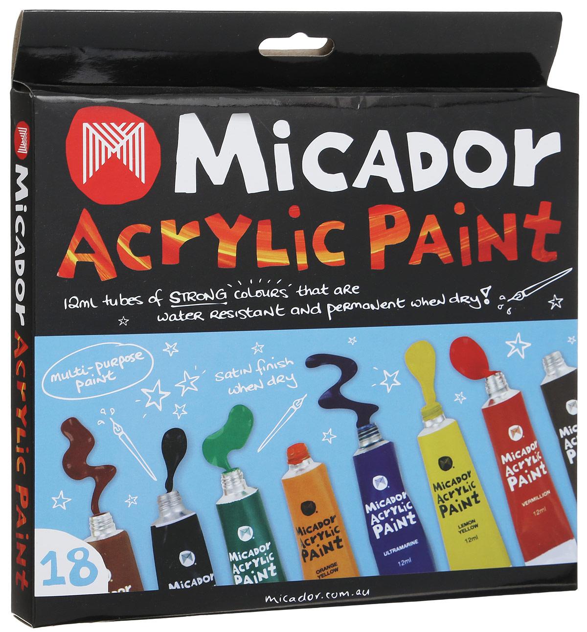 Micador Краски акриловые 18 цветовFS-36054Уникальные акриловые краски Micador очень легко смешиваются, что позволяет получать большую палитру цветов. Они также отлично смываются в теплой мыльной воде, что обязательно оценят родители.Благодаря краскам с высокой пигментацией, рисунки даже после высыхания остаются яркими. Не содержат токсичных веществ и полностью безопасны для детей. Отличительная особенность красок: при нанесении в 1 слой, краски полупрозрачные и напоминают акварель, при нанесении в несколько слоев появляется глянцевый эффект и краски похожи на масляные.Рисование развивает творческие способности, воображение, логику, память, мышление.Пусть мир вашего ребенка будет ярким и безопасным!