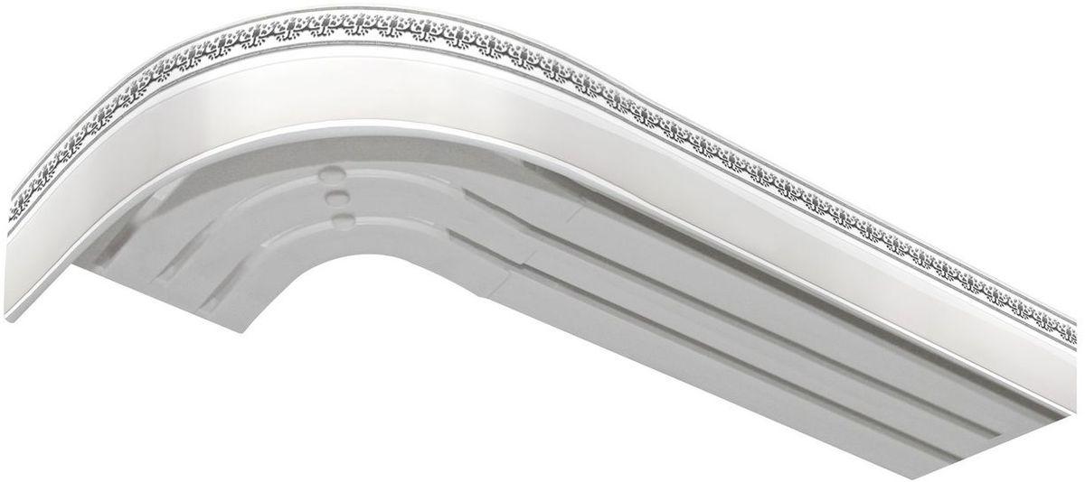 Багет Эскар Серебро Дамаск, цвет: белый, серебристый, 5 х 170 смPM 6705Багет Эскар Серебро Дамаск представляет собой изготовленную из поливинилхлорида (ПВХ) полую пластину, применяющуюся как потолочный карниз.Багет для карниза крепится к карнизным шинам. Благодаря багетному карнизу, от взора скрывается верхняя часть штор (шторная лента, крючки), тем самым придавая окну и интерьеру в целом изысканный вид и шарм.