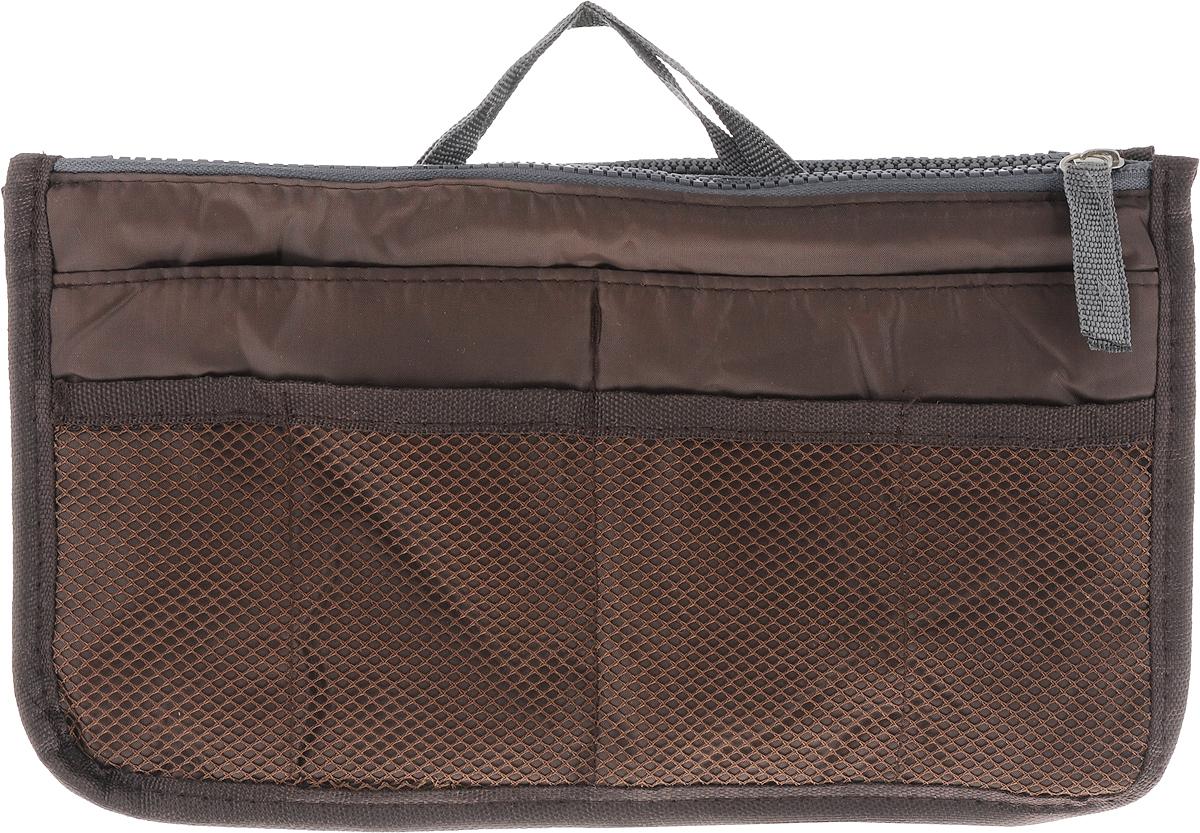 Органайзер для сумки Homsu, цвет: кофейный, 30 x 8,5 x 18,5 см28907 4Органайзер для сумки Homsu выполнен из прочного текстиля. Этот органайзер для сумки имеет три вместительных отделения, два из которых на молнии, четыре кармашка по бокам и шесть сетчатых кармашков. Такой органайзер обеспечит полный порядок в вашей сумке. Данный аксессуар обладает быстрой регулировкой толщины с помощью кнопок. Органайзер оснащен двумя крепкими ручками, что позволяет применять его и вне сумки.