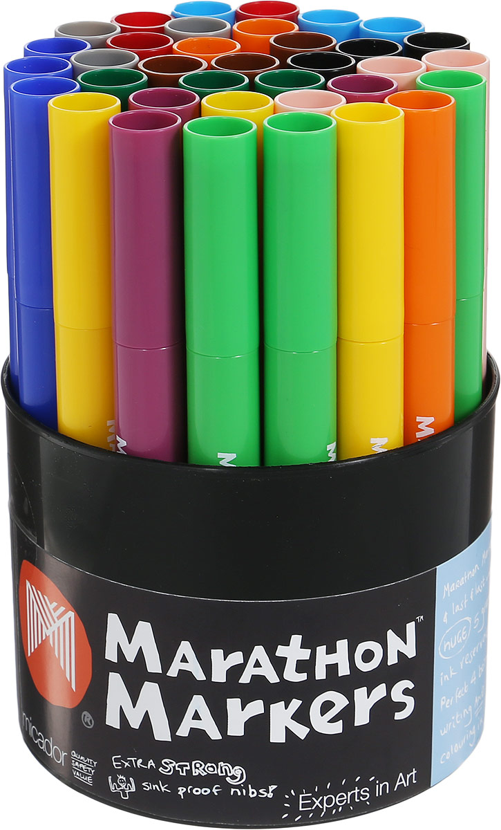 Micador Набор цветных маркеров 36 шт2010440Набор ярких цветных маркеров Micador прекрасно подойдет для создания красивых рисунков.Маркеры имеют утолщенный корпус, разработанный специально для маленьких ручек, чтобы малышам было удобно рисовать. Долговечные, не высыхают с открытым колпачком до 8 недель, при необходимости заправляются водой, а это значит, что вам не придется покупать новые маркеры.Рисование такими маркерами от Micador - самое лучшее занятие для развития творческих и умственных способностей вашего ребенка.