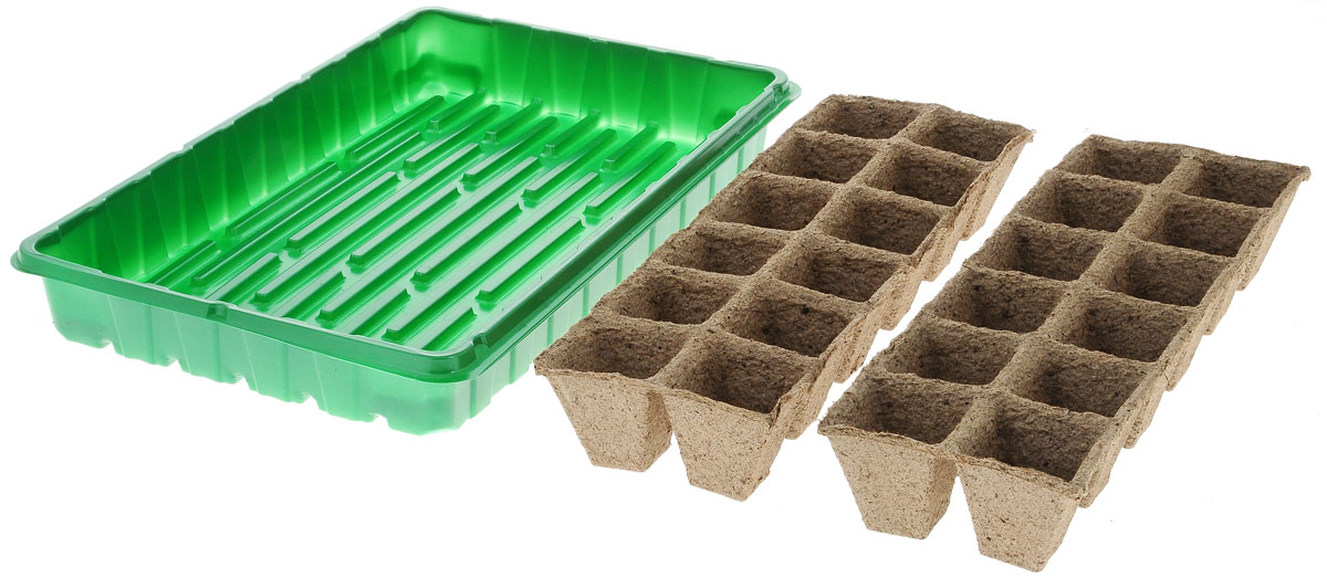 Набор для выращивания рассады Добрая сила, с торфяными горшочками, 24 ячейки8711969016132Набор для выращивания рассады Добрая сила представляет собой пластиковый поддон, куда вкладываются рассадные кассеты. Идеально подходит для проращивания семян и укоренения черенков в домашних условиях.В комплекте 24 торфяные ячейки. Размер поддона: 36 х 23 х 4,5 см.Размер одной ячейки: 4,2 х 4,2 х 4 см.