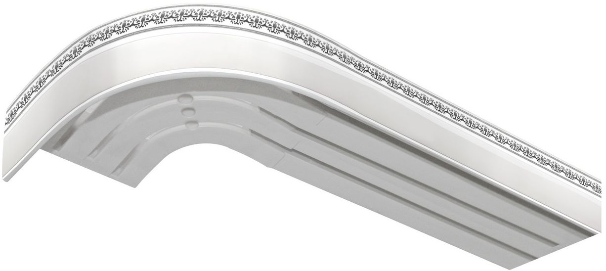 Багет Эскар Серебро Дамаск, цвет: белая подложка, серебристый, 5 см х 350 см1004900000360Багет для карниза крепится к карнизным шинам. Благодаря багетному карнизу, от взора скрывается верхняя часть штор (шторная лента, крючки), тем самым придавая окну и интерьеру в целом изысканный вид и шарм.Вы можете выбрать багетные карнизы для штор среди широкого ассортимента багета Российского производства. У нас множество идей использования багета для Вашего интерьера, которые мы готовы воплотить!Грамотно подобранное оформление – ключ к превосходному результату!!!
