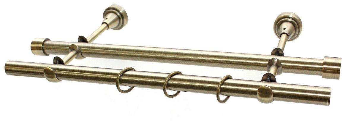 Карниз Эскар, комплектный, 2-х рядный, цвет: латунь, 16/16мм х 160 см190843Этот удобный 2-рядный карниз для штор и тюля изготовлен из металла. Минималистическое оформление позволяет перенести акцент на функциональные особенности изделия. В любом интерьере такой стильный карниз выглядит эффектно. Комплект также включает в себя кольца, торцевые заглушки, кронштейны и другие элементы для монтажа. Наконечники приобретаются отдельно.