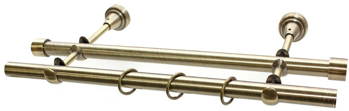 Карниз Эскар, комплектный, 2-х рядный, цвет: латунь, 19/19мм х 150 см531-401Этот удобный 2-рядный карниз для штор и тюля изготовлен из металла. Минималистическое оформление позволяет перенести акцент на функциональные особенности изделия. В любом интерьере такой стильный карниз выглядит эффектно. Комплект также включает в себя кольца, торцевые заглушки, кронштейны и другие элементы для монтажа. Наконечники приобретаются отдельно.