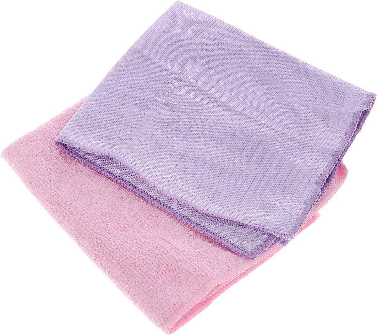 Салфетки для мытья окон Чистюля, цвет: сиреневый, розовый, 35 х 35 см, 2 штМФ011_сиреневый, розовыйСалфетка Чистюля выполнена из микрофибры (полиэстер и полиамид). Изделие отлично впитывает влагу, не оставляет разводов, быстро сохнет, сохраняет яркость цвета и не теряет форму даже после многократных стирок. Салфетка подходит для мытья окон и зеркал. Протертая поверхность становится идеально чистой, сухой и блестящей. Такая салфетка очень практична и неприхотлива в уходе. Размер салфетки: 35 х 35 см.
