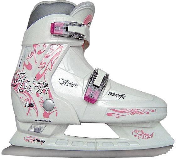Коньки ледовые женские CK Vision, раздвижные, цвет: белый, серый, розовый. Размер 38/41SF 010СК (Спортивная коллекция) Vision Girl - это стильные, прочные и эргономичные ледовые коньки, идеальный вариант для девочек. Модель обладает превосходной системой, которая позволяет подошве изменяться и расти вместе с ногой девочки. Внешняя основа ботинка стойкая к повреждениям и преждевременному износу. Полиуретановый каркас защищает от деформации при падении. Внутренняя часть из капровелюра легко чистится, не требуя особых усилий. Интегрированная подошва обеспечивает устойчивость на льду. Рама коньков СК (Спортивная коллекция) Vision Girl усилена и облегчена, не утяжеляет детскую ногу при эксплуатации. Лезвие СК (Спортивная коллекция) Vision Girl из легированной стали, стойкой к коррозии. С помощью двух мобильных клипс можно быстро застегнуть ботинок.