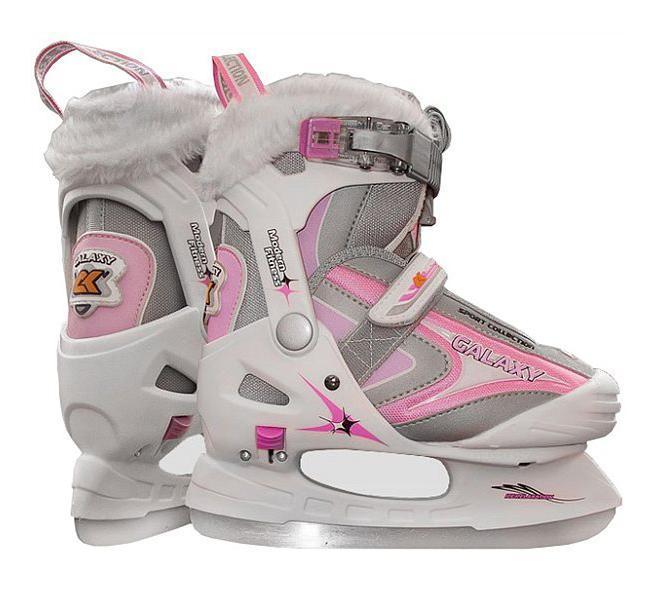 Коньки ледовые для девочки CK Galaxy, раздвижные, цвет: серый, розовый, белый. Размер 32/35