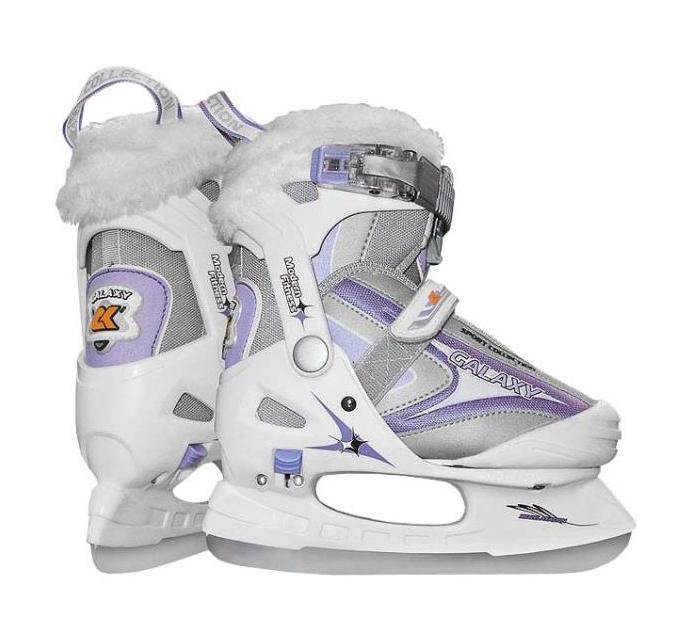 Коньки ледовые для девочки CK Galaxy, раздвижные, цвет: серый, фиолетовый, белый. Размер 32/35