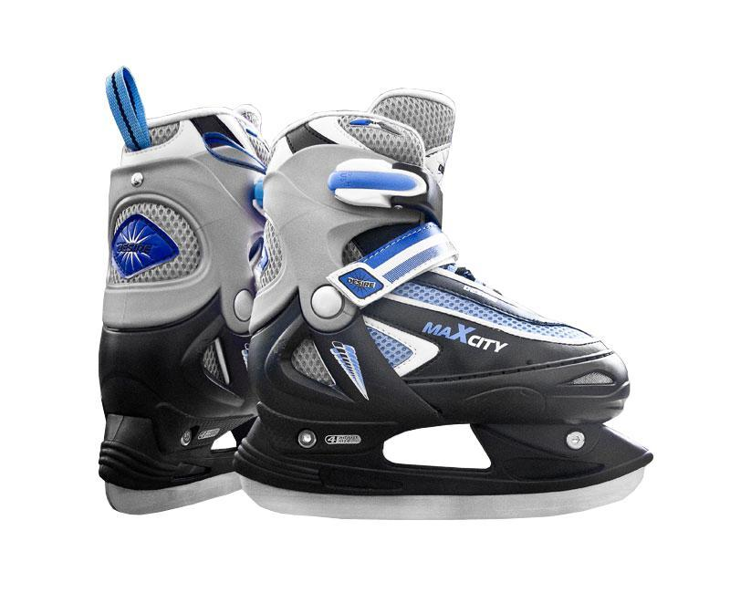 Коньки ледовые для мальчика MaxCity Desire Boy, раздвижные, цвет: синий, черный, серебряный. Размер 34/37CK Desire 2014Оригинальные детские раздвижные ледовые коньки от MaxCity с ударопрочной защитной конструкцией отлично подойдут для начинающих обучаться катанию. Ботинки изготовлены из комбинации морозостойкого пластика, который защитит ноги от ударов, искусственной кожи и текстиля. Пластиковая бакля с фиксатором, хлястик на липучке и шнуровка надежно фиксируют голеностоп. Внутренняя подкладка, выполненная из мягкого капровелюра, обеспечит тепло и комфорт во время катания.Фигурное лезвие изготовлено из нержавеющей стали со специальным покрытием, придающим дополнительную прочность.Изделие декорировано принтом и тиснением в виде логотипа бренда, также оригинальными нашивками из ПВХ и искусственной кожи. Задняя часть коньков дополнена ярлычком для более удобного надевания обуви. Особенностью коньков является раздвижная конструкция, которая позволяет увеличивать длину ботинка на 4 размера по мере роста ноги ребенка. У ботинка с боку имеется специальная кнопка, которая позволит увеличить его размер.Универсальные коньки трансформеры - отличный подарок для любого ребенка, который любит активные игры в любое время года. За счет сменной рамы эту модель коньков от компании MaxCity можно использовать в качестве роликов. Отличный дизайн, высокое качество исполнения – являются гарантией безопасности и хорошего настроения.