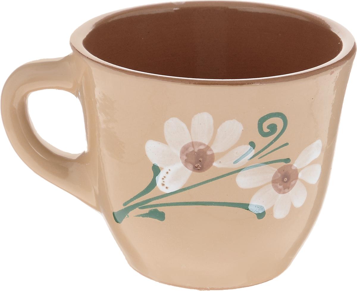 Чашка Борисовская керамика Стандарт, цвет: бежевый, 300 мл115510Удобная чашка Борисовская керамика Стандарт предназначена для повседневного использования. Она выполнена из высококачественной керамики. Природные свойства этого материала позволяют долго сохранять температуру напитка. Внешние стенки чашки оформлены изображением цветка.Диаметр чашки (по верхнему краю): 10 см.Высота чашки: 8,5 см.