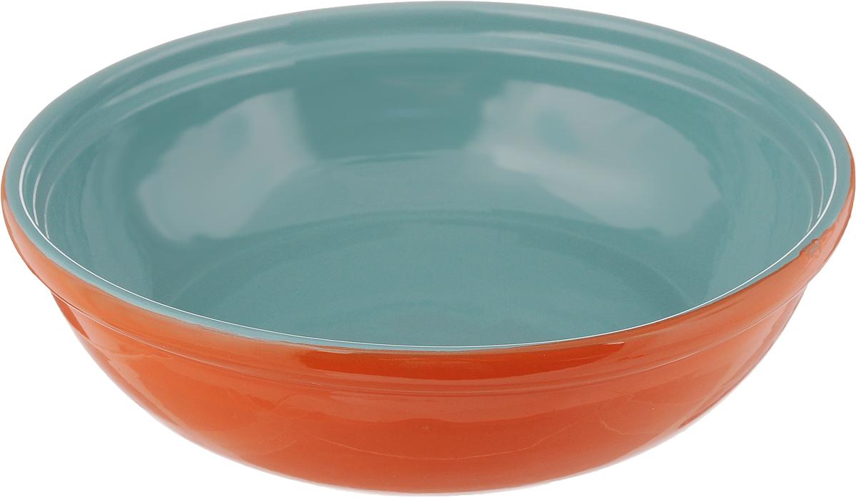 Салатник Борисовская керамика Модерн, цвет: оранжевый, бирюзовый, 1 л115510Салатник Борисовская керамика Модерн выполнен из высококачественной глазурованной керамики. Этот удобный салатник придется по вкусу любителям здоровой и полезной пищи. Благодаря современной удобной форме, изделие многофункционально и может использоваться хозяйками на кухне как в виде салатника, так и для запекания продуктов, с последующим хранением в нем приготовленной пищи. Посуда термостойкая. Можно использовать в духовке и микроволновой печи.Диаметр (по верхнему краю): 22 см.Высота стенки: 6 см.