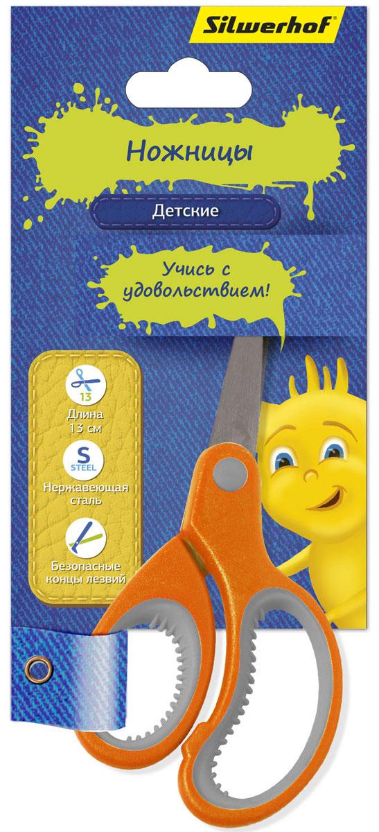 Silwerhof Ножницы детские Джинсовая коллекция цвет оранжевый 13 смFS-54110Детские ножницы Silwerhof Джинсовая коллекция прекрасно подойдут для детского творчества. Лезвия выполнены из нержавеющей стали с закругленными концами, что делает процесс работы с ними безопасным для ребенка. Благодаря эргономичной форме пластиковых ручек модель отлично ложится как в детскую, так и во взрослую руку.Ножницы хорошо справляются с резкой бумаги, картона и станут незаменимым помощником в процессе создания аппликаций и других поделок.