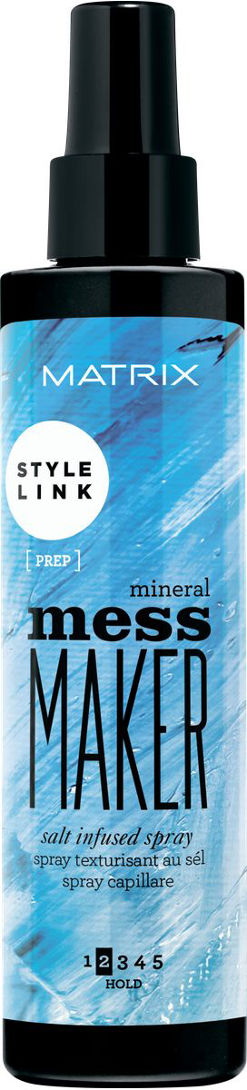 Matrix Style Link Обогащенный солью спрей Mineral Mess Maker, 200 млMP59.4DОбогащенный солью спрей Mess Maker (Мэсс Мэйкер). Путь к созданию приятных на ощупь пляжных волн. Обогащенный микро солями спрей мягко структурирует укладку, не склеивает волосы. Небрежный образ легко!
