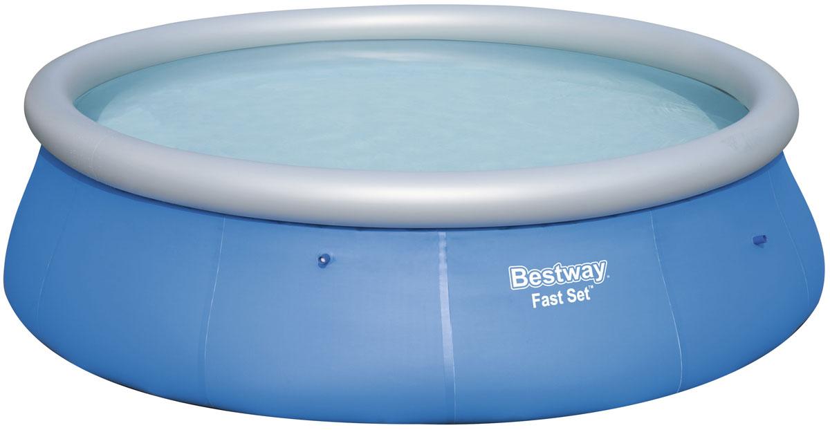Bestway Бассейн с надувным бортом09840-20.000.00Надувной бассейн выполнен из высококачественного трехслойного ПВХ: два слоя плотного винила и один - полиэстер для особой прочности. Чаша поддерживается надувным кольцом.Для установки бассейна выберите ровную поверхность, надуйте верхнее кольцо, наполните бассейн водой и наслаждайтесь купанием. Не заполняйте бассейн водой больше чем на 80%.Размер: 396 х 84 см. Объем: 7340 л.