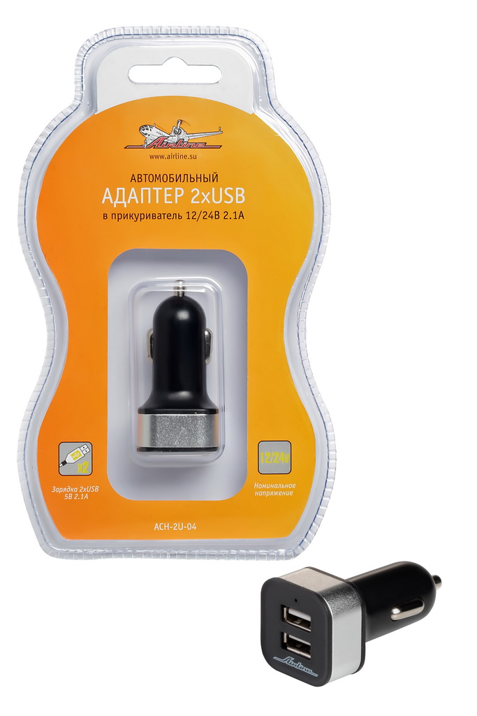 Адаптер автомобильный Airline, 2 x USBJinCARM21BLАдаптер Airline в гнездо прикуривателя на два гнезда USB 1А+2.1А позволяет заряжать мобильные телефоны и смартфоны в автомобиле. Финишное прорезиненное покрытие.