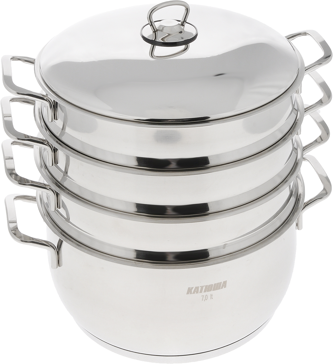 Мантоварка Катюша с крышкой, 3-уровневая, 7 л391602Мантоварка Катюша изготовлена из нержавеющей стали, что делает посуду износостойкой, прочной и практичной. Глубина уровней изделия, диаметр отверстий и объем специально предназначены для приготовления мантов. В мантоварке также можно готовить и другие блюда: овощи, котлеты или пельмени. Готовить на пару очень просто, продукты не пригорают и не склеиваются, а готовое блюдо выходит рассыпчатым и ароматным. Питательные элементы и витамины не растворяются в воде, а остаются в продуктах. Еда получается не только полезной, но и по-настоящему вкусной.Нижнюю часть манотоварки можно использовать как казан. Казаном принято называть большую кастрюлю толстыми стенками и выпуклым овальным дном. В казане можно приготовить много самых разнообразнейших блюд восточной кухни, но, наверное, самое известное и распространенное блюдо, которое приготавливается в казане, это любимый многими плов.Подходит для газовых и электрических плит. Внутренний диаметр казана: 28 см. Диаметр отверстий секции мантоварки: 0,5 см. Высота стенки казана: 12 см. Высота стенки секции: 6,5 см. Ширина казана (с учетом ручек): 36 см. Общая высота мантоварки (с учетом крышки): 35 см.