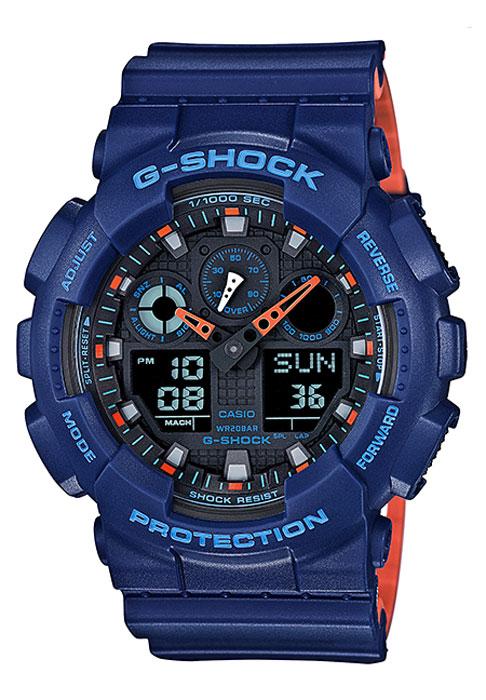 Zakazat.ru Часы наручные мужские Casio G-Shock, цвет: синий, оранжевый. GA-100L-2A