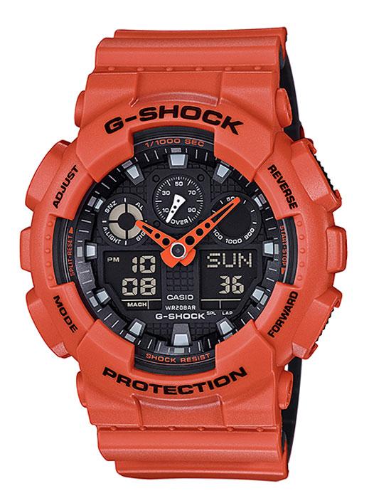 Часы наручные мужские Casio G-Shock, цвет: оранжевый, черный. GA-100L-4ABM8434-58AEКварцевый механизм, модуль 5081, с двойной цифро-аналоговой индикацией на жидкокристаллическом дисплее и при помощи центральных стрелок. Технические характеристики:Точность хода: не хуже +/-15 секунд в месяц. Автоматическая светодиодная LED-подсветка дисплея активируется как при нажатии соответствующей кнопки, так и при подъеме и повороте руки. Секундомер с точностью показаний 1/1000 сек и максимальным временем измерения 100 часов. Отображение средней скорости пройденного маршрута. Просто введите расстояние на начало и нажмите на секундомер при достижении пункта назначения - будет отображена средняя скорость. Таймер обратного отсчета с функций повтора, рассчитанный на время до 24 часов. Отображение времени в 48 часовых поясах с обозначением основных городов в этих зонах. Ежечасный сигнал и 5 ежедневных будильников, один с функцией повтора «snooze». Автоматический календарь не требует дополнительных настроек и показывает дату, день недели и месяц, которые могут быть настроены вплоть до 2039 года. Отображение текущего времени в 12 или 24-часовом формате. Элемент питания CR1220 рассчитан на 2 года работы. Размеры корпуса 55 мм (по оси заводной головки) х 51,2 мм (по вертикали) х 16,9 мм (толщина). Вес приблизительно 70 грамма. Минеральное стекло устойчивое к возникновению царапин. Корпус часов специально спроектирован с повышенной устойчивостью к воздействию магнитных полей. Водостойкость 200 метров (20 атм). Полимерный ремешок прочный и долговечный с простой застежкой.