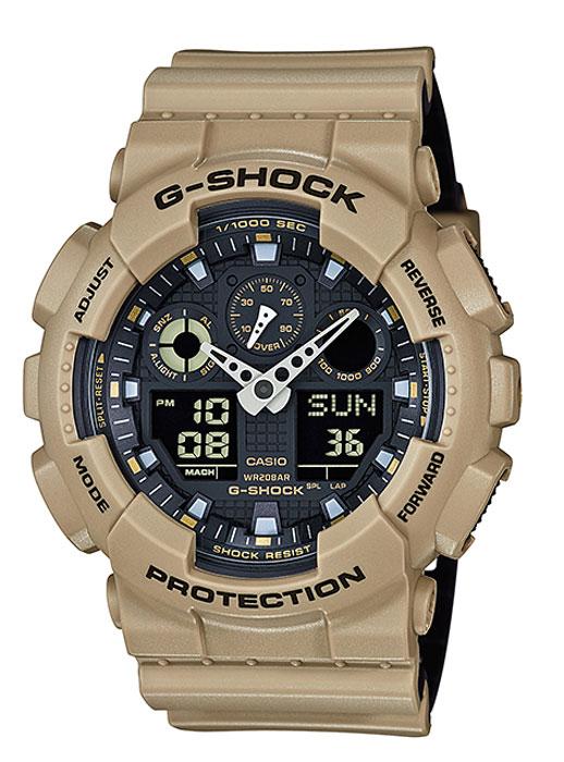 Часы наручные мужские Casio G-Shock, цвет: бежевый, черный. GA-100L-8ABM8434-58AEКварцевый механизм, модуль 5081, с двойной цифро-аналоговой индикацией на жидкокристаллическом дисплее и при помощи центральных стрелок. Технические характеристики:Точность хода: не хуже +/-15 секунд в месяц. Автоматическая светодиодная LED-подсветка дисплея активируется как при нажатии соответствующей кнопки, так и при подъеме и повороте руки. Секундомер с точностью показаний 1/1000 сек и максимальным временем измерения 100 часов. Отображение средней скорости пройденного маршрута. Просто введите расстояние на начало и нажмите на секундомер при достижении пункта назначения - будет отображена средняя скорость. Таймер обратного отсчета с функций повтора, рассчитанный на время до 24 часов. Отображение времени в 48 часовых поясах с обозначением основных городов в этих зонах. Ежечасный сигнал и 5 ежедневных будильников, один с функцией повтора «snooze». Автоматический календарь не требует дополнительных настроек и показывает дату, день недели и месяц, которые могут быть настроены вплоть до 2039 года. Отображение текущего времени в 12 или 24-часовом формате. Элемент питания CR1220 рассчитан на 2 года работы. Размеры корпуса 55 мм (по оси заводной головки) х 51,2 мм (по вертикали) х 16,9 мм (толщина). Вес приблизительно 70 грамма. Минеральное стекло устойчивое к возникновению царапин. Корпус часов специально спроектирован с повышенной устойчивостью к воздействию магнитных полей. Водостойкость 200 метров (20 атм). Полимерный ремешок прочный и долговечный с простой застежкой.