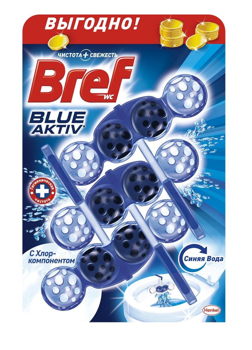 Чистящее средство для унитаза Bref Blue-Aktiv с Хлор-компонентом 3х50г935258Чистящее средство для унитаза Bref Blue-Aktiv с Хлор-компонентом - это подвесной туалетный блок с формулой 4 в 1, который обеспечивает:1. Гигиеническую чистоту2. Защиту от известкового налета3. Свежесть4. Обильную пену Тройная упаковка Bref Сила-Актив - выгодное предложение!Освободите корзинку от упаковки. Повесьте Bref Сила-Актив под ободок Вашего унитаза.Состав: >30% анионные ПАВ, Товар сертифицирован.
