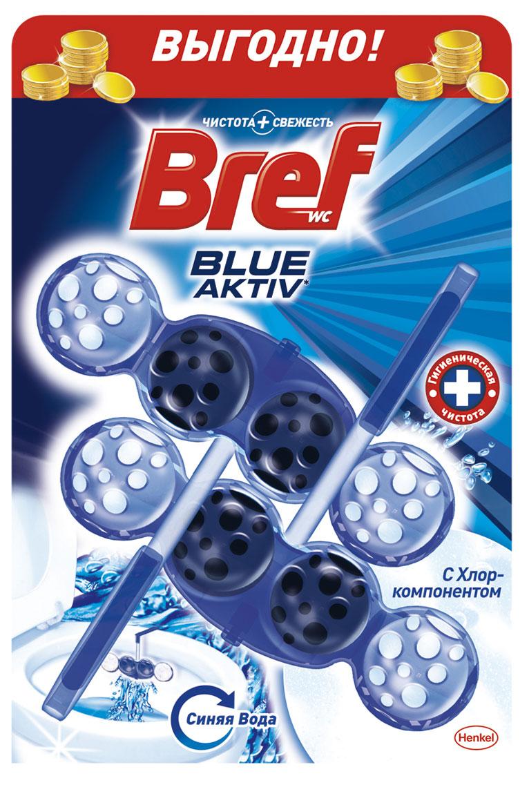 Чистящее средство для унитаза Bref Blue-Aktiv с Хлор-компонентом 2х50г68/5/3Чистящее средство для унитаза Bref Blue-Aktiv с Хлор-компонентом - это подвесной туалетный блок с формулой 4 в 1, который обеспечивает:1. Гигиеническую чистоту2. Защиту от известкового налета3. Свежесть4. Обильную пену Двойная упаковка Bref Сила-Актив - выгодное предложение!Освободите корзинку от упаковки. Повесьте Bref Сила-Актив под ободок Вашего унитаза.Состав: >30% анионные ПАВ, Товар сертифицирован.