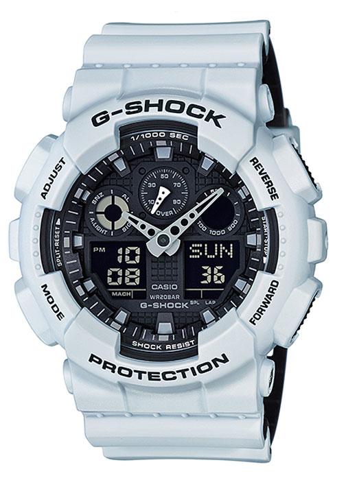 Часы наручные мужские Casio G-Shock, цвет: белый, черный. GA-100L-7ABM8434-58AEКварцевый механизм, модуль 5081, с двойной цифро-аналоговой индикацией на жидкокристаллическом дисплее и при помощи центральных стрелок. Технические характеристики:Точность хода: не хуже +/-15 секунд в месяц. Автоматическая светодиодная LED-подсветка дисплея активируется как при нажатии соответствующей кнопки, так и при подъеме и повороте руки. Секундомер с точностью показаний 1/1000 сек и максимальным временем измерения 100 часов. Отображение средней скорости пройденного маршрута. Просто введите расстояние на начало и нажмите на секундомер при достижении пункта назначения - будет отображена средняя скорость. Таймер обратного отсчета с функций повтора, рассчитанный на время до 24 часов. Отображение времени в 48 часовых поясах с обозначением основных городов в этих зонах. Ежечасный сигнал и 5 ежедневных будильников, один с функцией повтора «snooze». Автоматический календарь не требует дополнительных настроек и показывает дату, день недели и месяц, которые могут быть настроены вплоть до 2039 года. Отображение текущего времени в 12 или 24-часовом формате. Элемент питания CR1220 рассчитан на 2 года работы. Размеры корпуса 55 мм (по оси заводной головки) х 51,2 мм (по вертикали) х 16,9 мм (толщина). Вес приблизительно 70 грамма. Минеральное стекло устойчивое к возникновению царапин. Корпус часов специально спроектирован с повышенной устойчивостью к воздействию магнитных полей. Водостойкость 200 метров (20 атм). Полимерный ремешок прочный и долговечный с простой застежкой.