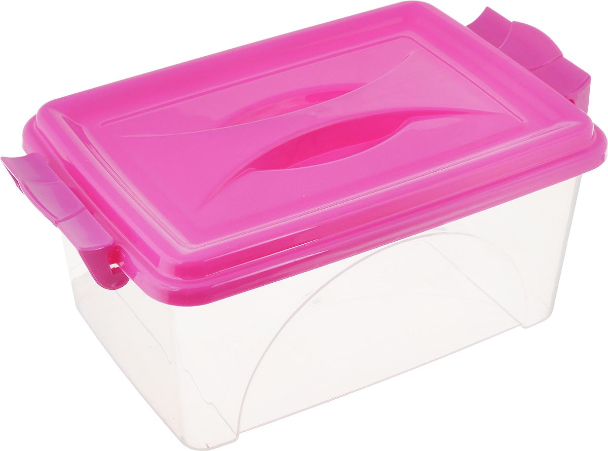 Контейнер Альтернатива, цвет: фуксия, прозрачный, 4,5 лМ419_фуксия, прозрачныйКонтейнер Альтернатива изготовлен из высококачественного пищевого пластика. Изделие оснащено крышкой и ручками, которые плотно закрывают контейнер. Емкость предназначена для хранения различных бытовых вещей и продуктов.Такой контейнер очень функционален и всегда пригодится на кухне. Размер контейнера (с учетом крышки и ручек): 31,5 х 20 х 13,5 см.