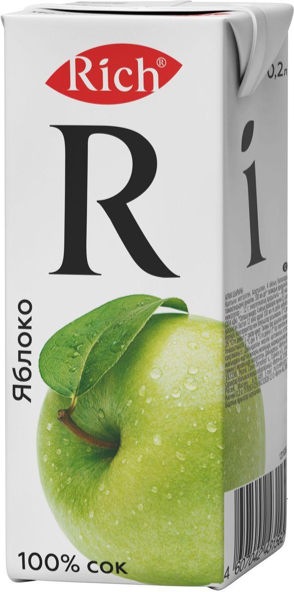 Rich Яблочный сок, 0,2 л0120710Умелое сочетание тщательно отобранных сортов яблок создает особый вкус Rich Благородное яблоко. При комнатной температуре в аромате сока чувствуются нежные цветочные ноты. Сбалансированный, обволакивающий вкус спелого сочного яблока мягкий, умеренно-сладкий, округлый с долгим медово-карамельным послевкусием.Строгий отбор сочных и свежих фруктов, постоянный контроль производства и готовой продукции - составляющие безупречного качества соков и нектаров Rich, высокие стандарты которого всегда соблюдались с момента запуска на российском рынке.Но что действительно отличает продукцию под маркой Rich - это изысканный, многогранный вкус, рождающийся благодаря сочетанию разных сортов одного фрукта в соках и нектарах.