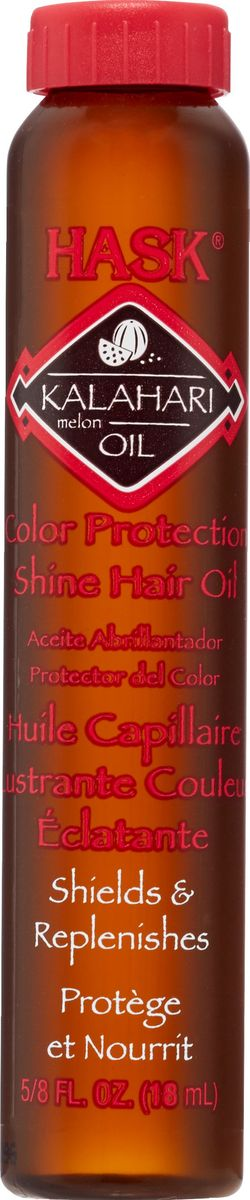 HASK Масло для защиты цвета и придания блеска волосам с эктрактом дыни Калахари, 18 млSatin Hair 7 BR730MNЭто легкое масло без содержания спирта мгновенно впитывается и наполняет волосы сиянием, не оставляя жирного блеска. Обогащено витамином Е, Омега-7 и антиоксидантами. Масло макадамии глубоко проникает в кутикулу волоса, делая даже самые поврежденные волосы мягкими и невероятно блестящими.