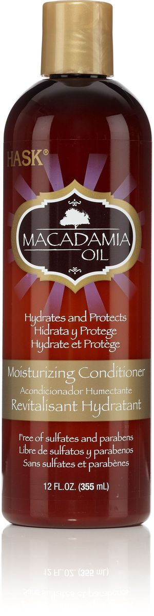 HASK Увлажняющий кондиционер с маслом Макадамии, 355 мл10766Увлажняющий кондиционер с маслом Макадамии облегчает расчесывание и удерживает влагу, делает даже самые сухие волосы мягкими и невероятно блестящими. Идеально подходит для сухих, поврежденных или окрашенных волос.