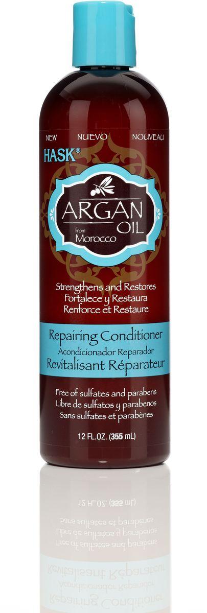 HASK Восстанавливающий кондиционер для волос с Аргановым маслом, 355 млFS-36054Восстанавливающий кондиционер для волос с Аргановым маслом проникает в структуру волоса и восстанавливает его изнутри. Даже самые поврежденные волосы становятся мягкими и увлажненными. Кондиционер идеально подходит для восстановления сухих, поврежденных волос.