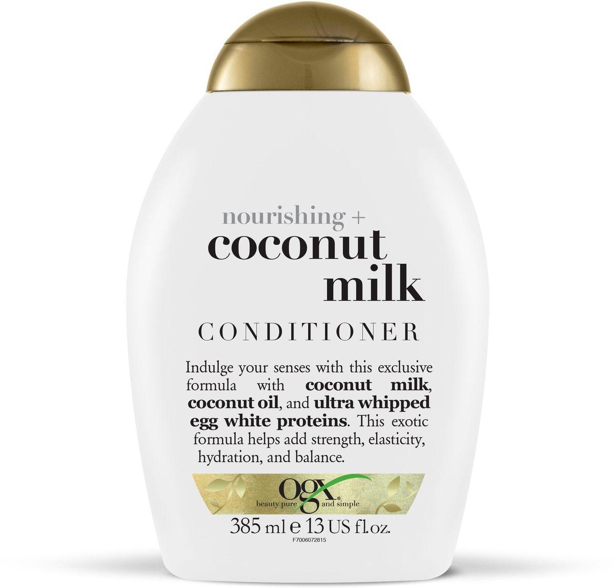 OGX Питательный кондиционер с кокосовым молоком, 385 млFS-00897Питательный кондиционер с кокосовым молоком– питает и увлажняет волосы, придавая им гладкость и блеск, кокосовое масло, входящее в состав продукта наполняет волосы влагой от корней до самых кончиков, восстанавливая водный баланс. Придает волосам силу.
