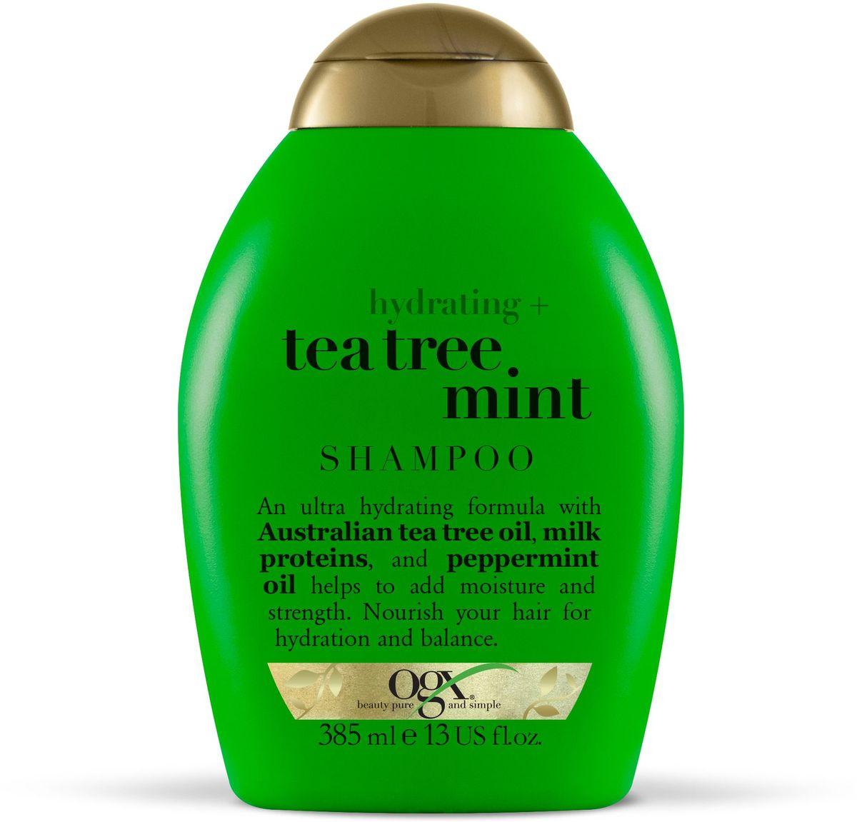 OGX Увлажняющий Шампунь с Маслом чайного дерева и Ментолом, 385 мл.FS-00103Увлажняющий шампунь с маслом чайного дерева и ментолом увлажняет и укрепляет волосы, делая их гладкими и послушными. Помогает поддерживать естественный баланс и наполняют волосы молочным белком.