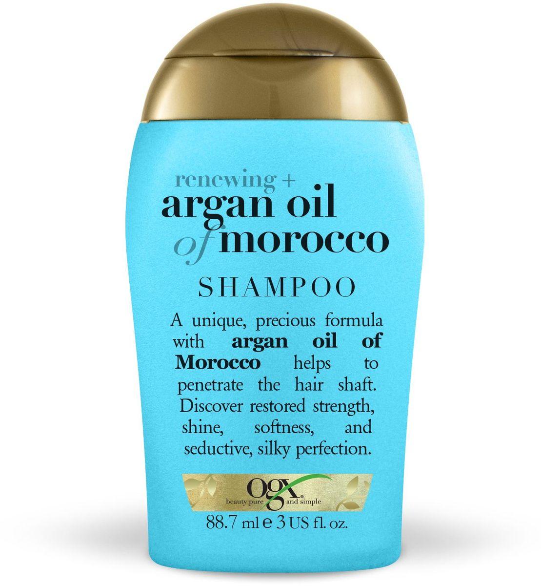 OGX Мини шампунь для восстановления волос с аргановым маслом, 89 мл.32371AШампунь для восстановления волос с аргановым маслом, обогащенный антиоксидантами, способствует обновлению клеточной структуры волос, придает сияния и мягкость.