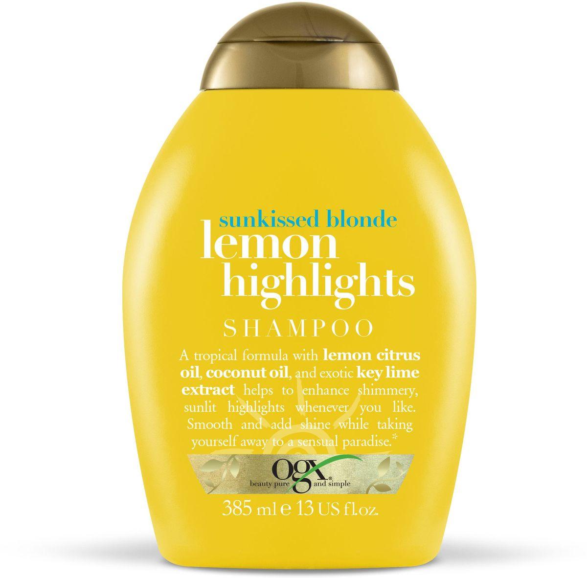 OGX Шампунь для сияния цвета с экстрактом лимона Солнечный блонд, 385 мл.MQ331Шампунь для сияния цвета с экстрактом лимона – увлажняет и сохраняет влагу изнутри, борется с пушением. Делают цвет более ярким и сияющим. Наполняют волосы силой и жизненной энергией