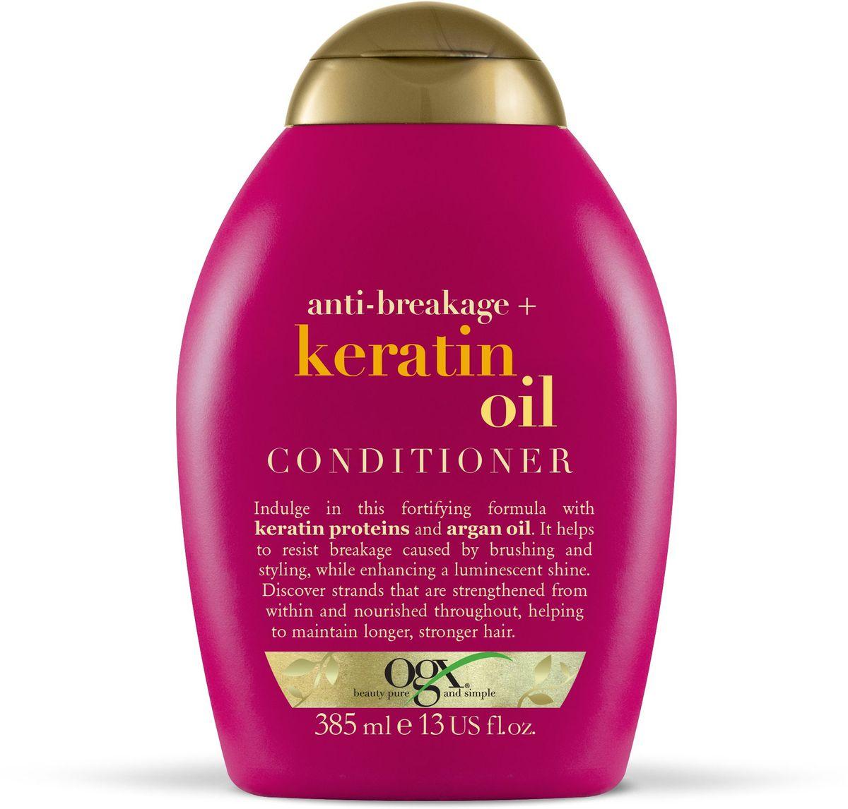 OGX Кондиционер против ломкости волос с кератиновым маслом, 385 мл.10771Кондиционер против ломкости волос с кератиновым маслом, обогащенный протеинами кератина и аргановым маслом, борется против ломкости волос, питает волосы и придает им силу, блеск и сияние.