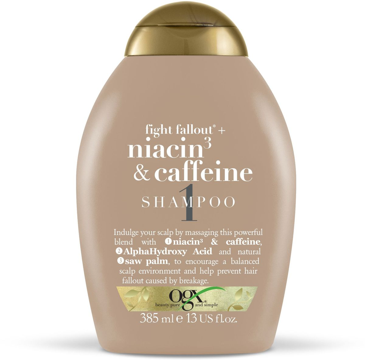 OGX Шампунь против выпадения волос с ниацином 3 и кофеином, 385 мл.97761Шампунь против выпадения волос с ниацином 3 и кофеином помогает поддерживать кожу голову в здоровом состоянии, стимулирует волосяные фолликулы и предотвращает выпадение и ломкость волос.