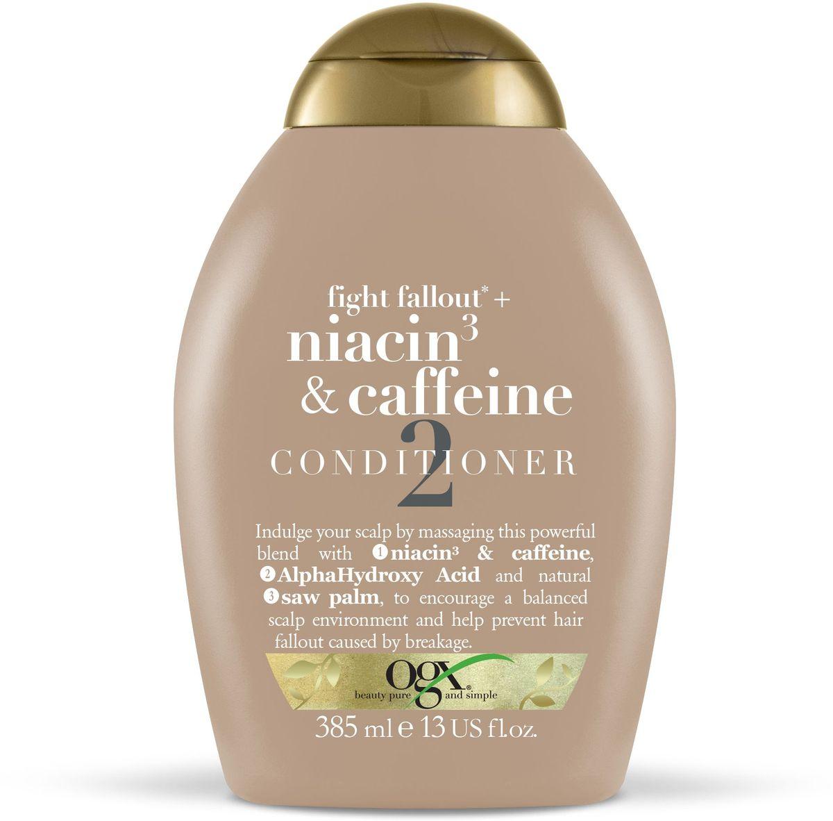 OGX Кондиционер против выпадения волос с ниацином 3 и кофеином, 385 мл.SL-255Кондиционер против выпадения волос с ниацином 3 и кофеином помогает поддерживать кожу голову в здоровом состоянии, стимулирует волосяные фолликулы и предотвращает выпадение и ломкость волос.