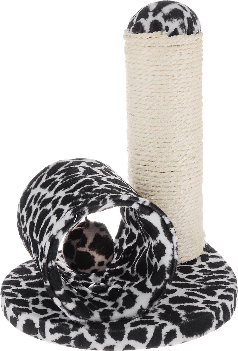 Игрушка для кошек Triol Столбик и туннель, цвет: черный, белый, 24 х 21 х 23 см101246Игрушка Столбик и туннель - это забавная когтеточка, разработанная компанией Triol. Данные когтеточки пользуются особенным вниманием у кошек, ведь о них можно не только поточить коготки, но и весело поиграть. Внутри туннеля подвешен мягкий шарик, с которым ваш питомиц с удовольствием будет играть. Когтеточка изготовлена из сизаля.Когтеточки - обязательный аксессуар для личной гигиены кошек, который помогает животным избавиться от мешающихся шелушащихся слоев когтя, причиняющих дискомфорт подушечкам лап. Кроме того волокна сизаля - натуральный растительный продукт, который не только является очень крепким и стойким к повреждениям, но также имеет отталкивающее бактерии покрытие, благодаря чему абсолютно безвреден для кошек.Размеры игрушки: 24 х 21 х 23 см.