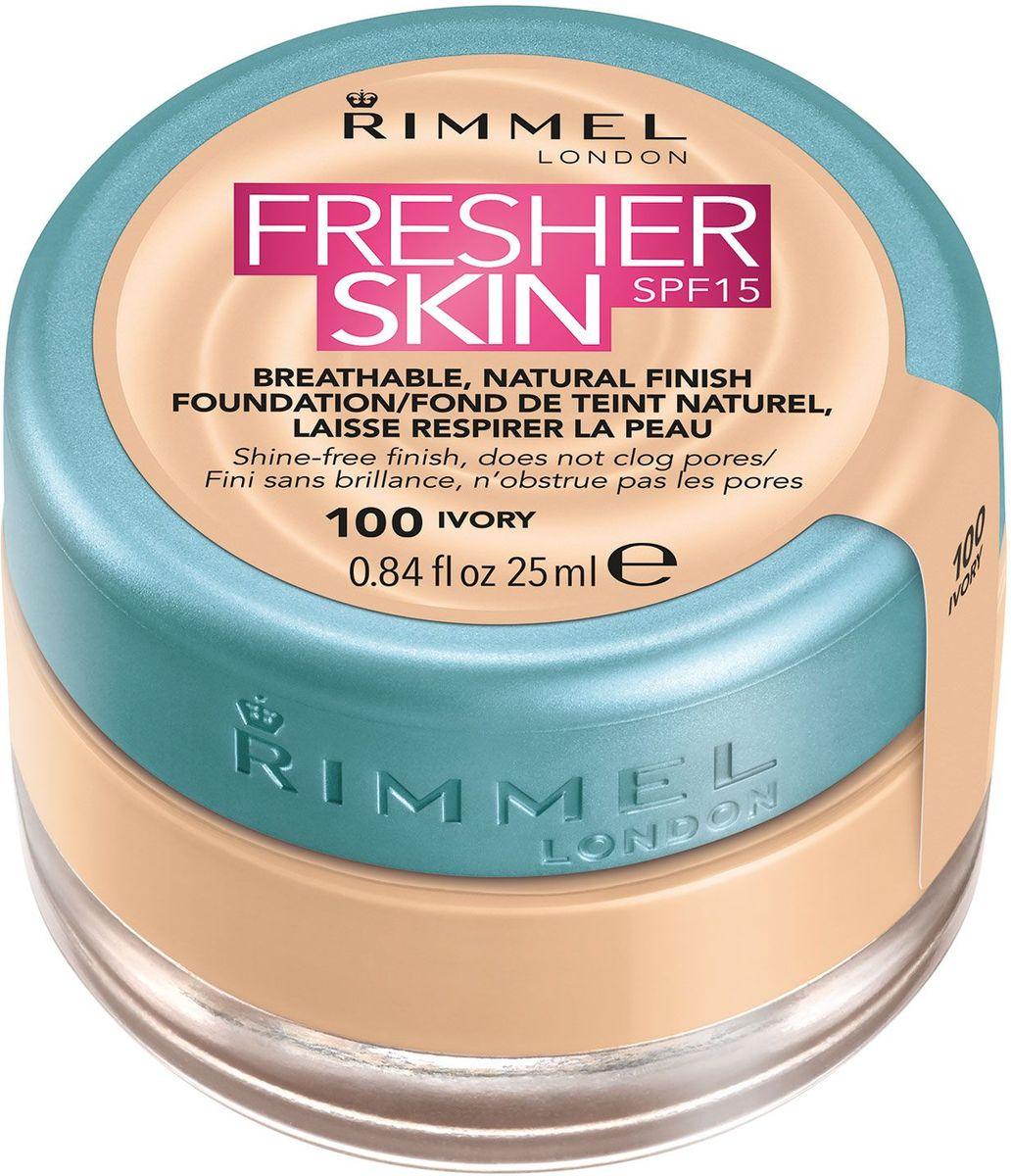 Rimmel Тональный крем Fresher Skin, тон № 100, 25 мл34775699100Легкая гелевая формула на водной основе незаметно сливается с кожей, придавая ей ощущение свежести на целый деньНевесомая текстура позволяет наслаивать тональное средство, не забивая поры и оставляя ощущение и вид безупречной, отдохнувшей кожиБез блеска с момента нанесения надолгоСолнцезащитный фактор SPF15