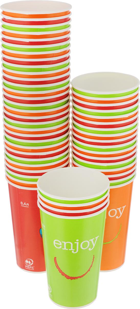 Набор одноразовых стаканов Huhtamaki Enjoy, 400 мл, 50 шт. ПОС31509VT-1520(SR)Одноразовые стаканы Huhtamaki Enjoy изготовлены из ламинированной плотной бумаги и оформлены оригинальным рисунком. Изделия предназначены для подачи холодных напитков. Вы можете взять их с собой на природу, в парк, на пикник и наслаждаться вкусными напитками. Несмотря на то, что стаканы бумажные, они очень прочные и не промокают. Диаметр стакана (по верхнему краю): 8,5 см.Высота стакана: 13,5 см.