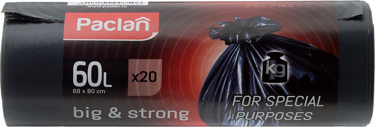 Пакеты для мусора Paclan Big & Strong, 60 л, 20 штK100Пакеты для мусора Paclan Big & Strong имеют высокую толщину и плотность материала, что позволяет применять их для выноса большого количества мусора при проведении строительных и ремонтных работ, сезонных уборок уличных территорий. Специальные прочные и удобные завязки помогут легко завязать пакет. Пакеты в рулоне, отрываются строго по линии отрыва.Размер пакета: 68 х 80 см.