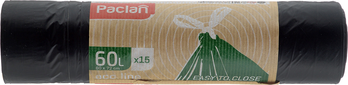 Пакеты для мусора Paclan Eco Line, с завязками, 60 л, 15 шт пакеты для мусора paclan 120 л