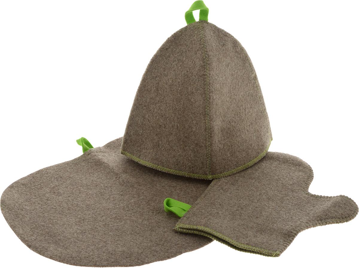 Комплект для бани и сауны, суровыйK100Комплект для бани и сауны включает в себя шапку, рукавицу и коврик. Шапка защитит Вас от появления головокружения в бане, Ваши волосы от сухости и ломкости, а голову от перегрева. Рукавица убережет Ваши руки от горячего пара и поможет прекрасно промассировать тело. Коврик является средством личной гигиены, защищает открытые части тела парильщика от перегретых поверхностей полок, лавок в парной бани и сауны. Характеристики: Материал: шерсть. Длина рукавицы: 29 см. Ширина рукавицы: 16 см. Размер коврика: 44 см х 33 см. Диаметр основания шапки: 34 см. Высота шапки: 24 см. Производитель: Россия. Артикул: Б16-1.