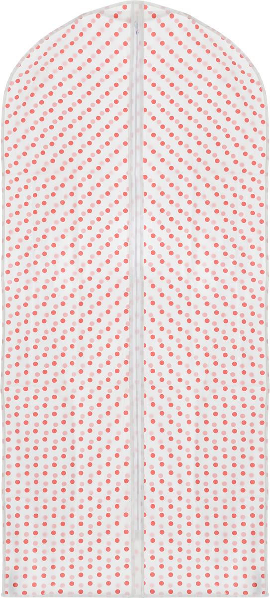 Чехол для одежды Eva Горох, 60 х 135 смЕ-16301_белый, красный горохПрочный водонепроницаемый чехол для одежды Eva выполнен из материала PEVA/ПЭВА (полиэтиленвинилацетат) и оформлен красивым принтом в горошек. Чехол сохранит ваши вещи в отличном состоянии, защитит их от пыли, грязи и UV-излучения, а также не позволит им помяться. Изделие закрывается на застежку-молнию.Чехол для одежды Eva создаст уютную атмосферу в женском гардеробе. Лаконичный дизайн придется по вкусу ценительницам эстетичного хранения. Изделие станет незаменимым приобретением для перевозки или хранения вещей. Не содержит хлора: более экологичное производство и утилизация.
