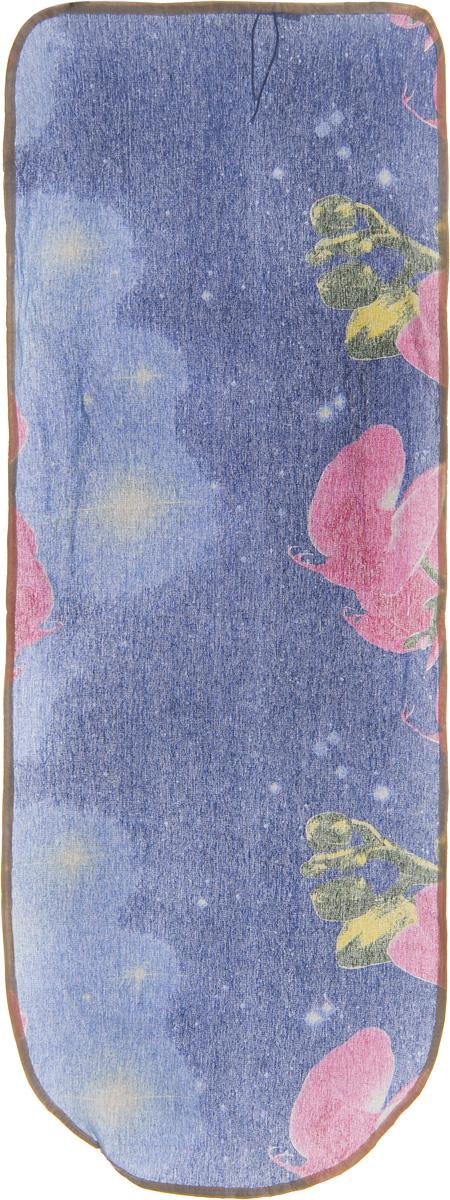 Чехол для гладильной доски Detalle Розовые орхидеи, 125 х 47 см402-480_белый, синийЧехол для гладильной доски Detalle, выполненный из хлопка с подкладкой из мягкого войлокообразного полотна (ПЭФ), предназначен для защиты или замены изношенного покрытия гладильной доски. Чехол снабжен стягивающим шнуром, при помощи которого вы легко отрегулируете оптимальное натяжение чехла и зафиксируете его на рабочей поверхности гладильной доски.Из войлокообразного полотна вы можете вырезать подкладку любого размера, подходящую именно для вашей доски. Этот качественный чехол обеспечит вам легкое глажение. Он предотвратит образование блеска и отпечатков металлической сетки гладильной доски на одежде. Войлокообразное полотно практично и долговечно в использовании. Размер чехла: 125 x 47 см.Максимальный размер доски: 120 х 42 см.Размер войлочного полотна: 130 х 52 см.